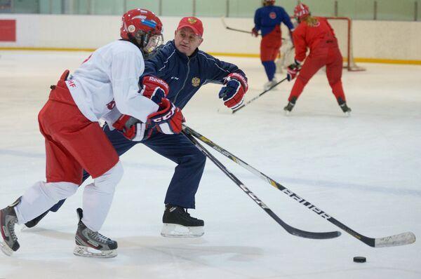 Михаил Чеканов во время тренировки
