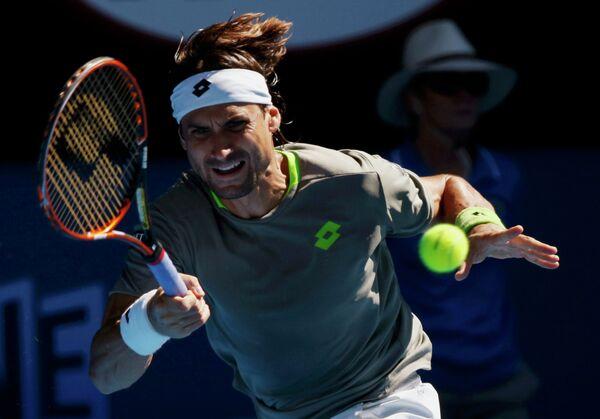 Испанский теннисист Давид Феррер во время матча на Australian Open