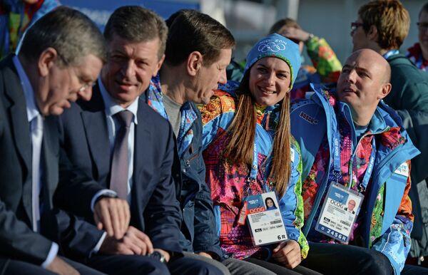 Томас Бах, Александр Жуков, Елена Исинбаева и Дмитрий Чернышенко (слева направо)