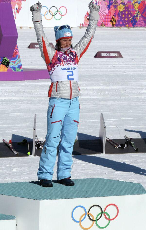 Олимпиада 2014. Лыжные гонки. Марит Бьёрген. Скиатлон