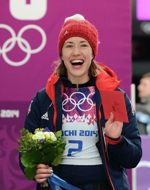 Элизабет Ярнольд (Великобритания), завоевавшая золотую медаль в соревнованиях по скелетону