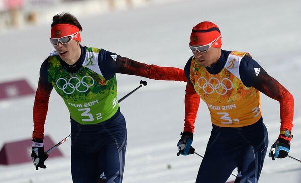 Слева направо: Александр Бессмертных (Россия), Александр Легков (Россия)
