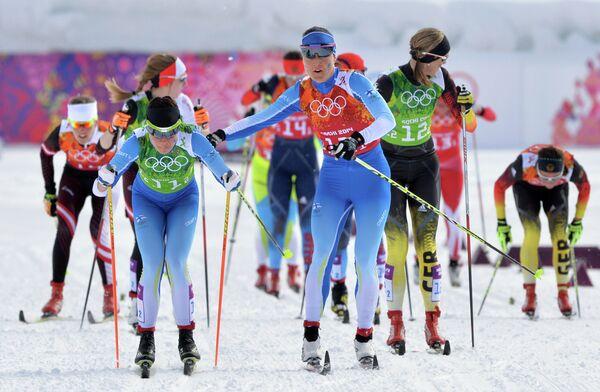 Слева направо: Кертту Нисканен (Финляндия), Айно-Кайса Сааринен (Финляндия) и Дениз Херрман (Германия)