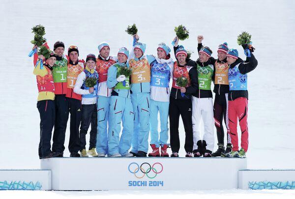 Призеры командных соревнований по лыжному двоеборью