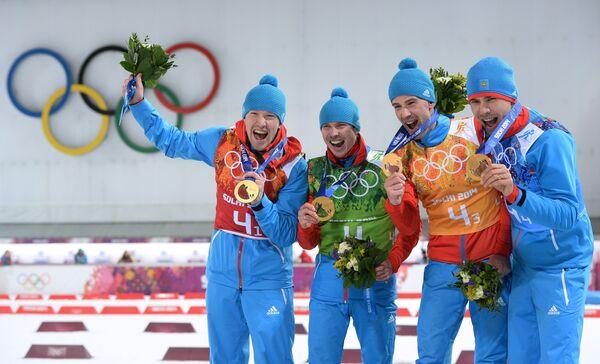 Слева направо: Алексей Волков (Россия), Евгений Устюгов (Россия), Дмитрий Малышко (Россия), Антон Шипулин (Россия)