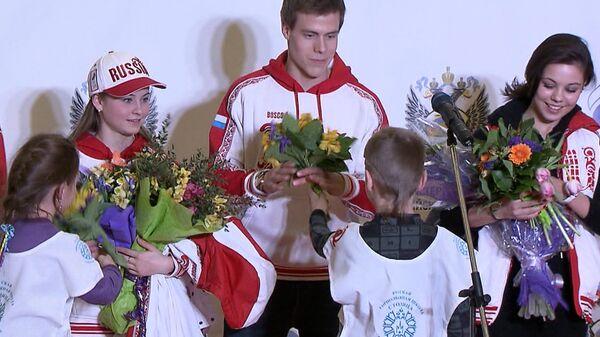 Цветы и овации  – как встречали в Москве олимпийскую сборную России