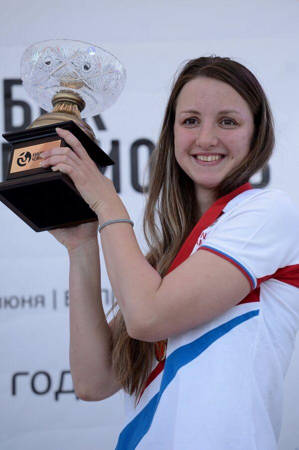 Елизавета Горшкова, занявшая первое место на Международных соревнованиях по плаванию на открытой воде Кубок Чемпионов