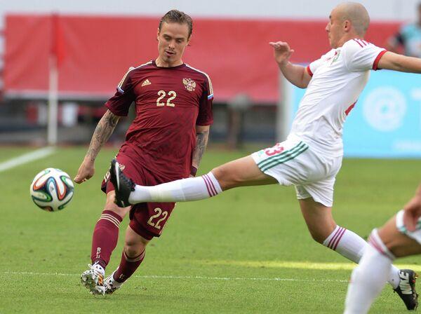 Игровой момент товарищеского матча сборных России и Марокко