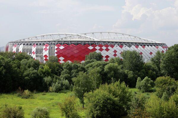 Вид на строящийся стадион Открытие Арена футбольного клуба Спартак в Москве