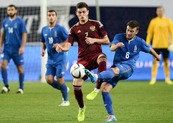Игровой момент матча Россия – Азербайджан