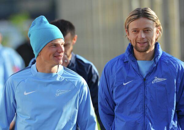 Полузащитники Зенита Андрей Аршавин (слева) и Анатолий Тимощук