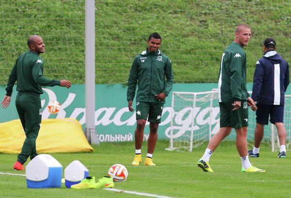 Футболисты Краснодар на тренировке перед матчем группового этапа Лиги Европы