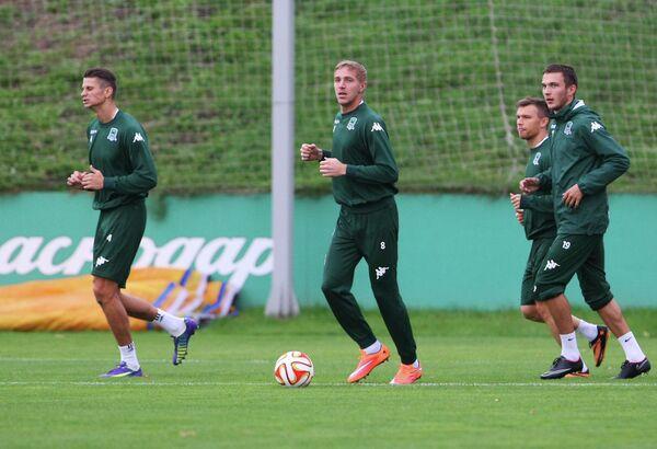 Футболисты Краснодара на тренировке перед матчем группового этапа Лиги Европы