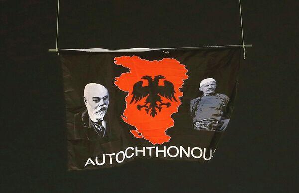 Провокационный политический баннер на матче Сербия - Албания