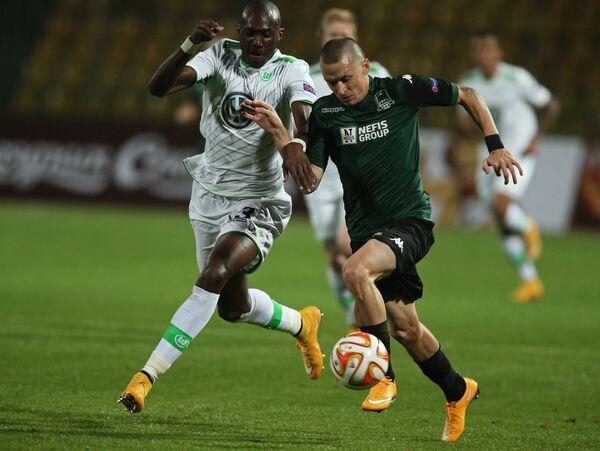 Игровой момент матча Краснодар - Вольфсбург