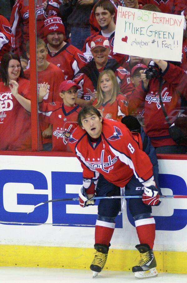 Нападающий Вашингтон Кэпиталз Александр Овечкин во время матча национальной хоккейной лиги
