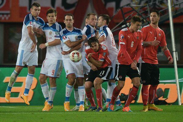 Игровой момент матча Австрия - Россия