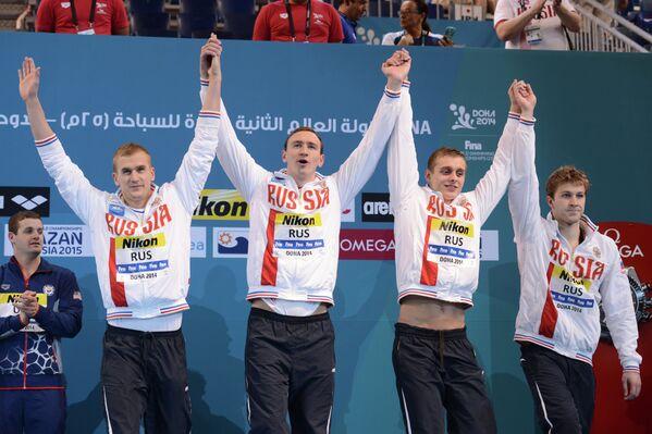 Михаил Полищук, Данила Изотов, Вячеслав Андрксенко, Артем Лобузов (слева направо)