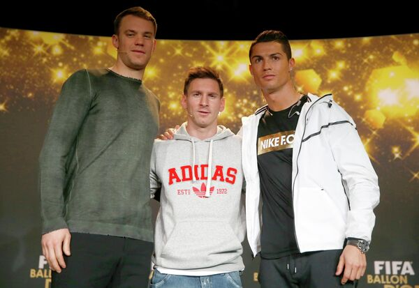 Мануэль Нойер, Лионель Месси и Криштиану Роналду (слева направо)