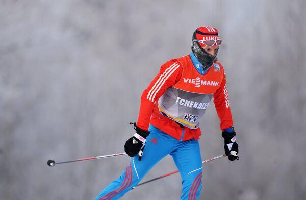 Юлия Чекалева (Россия) на тренировке перед индивидуальной гонкой в соревнованиях по лыжным гонкам