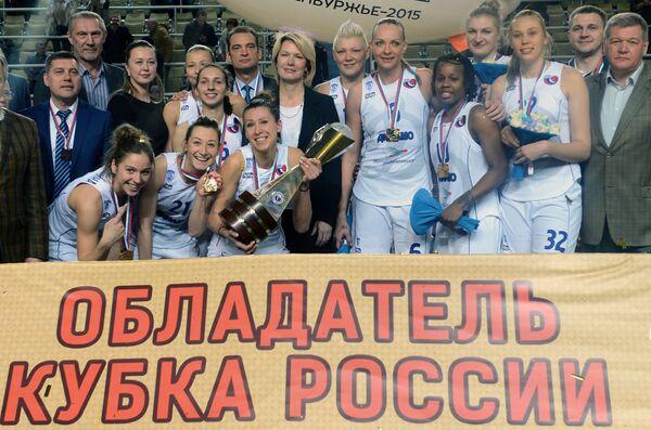 Баскетболистки команды ЖБК Динамо (Курск) - победители Финала Четырех женского Кубка России по баскетболу