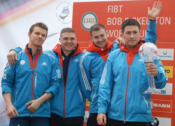 Александр Касьянов, Ильвир Хузин, Алексей Пушкарев и Алексей Зайцев (Россия) (справа налево)