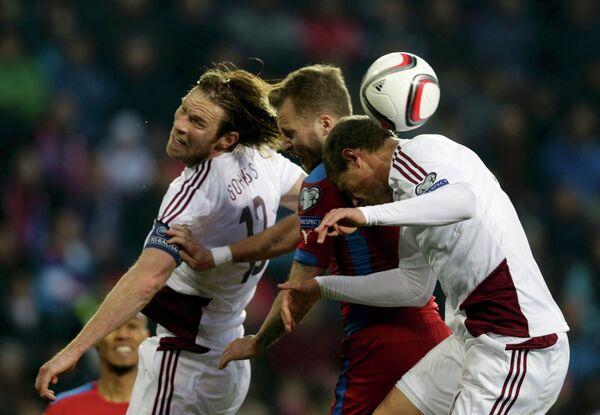 Игровой момент матча Чехия - Латвия