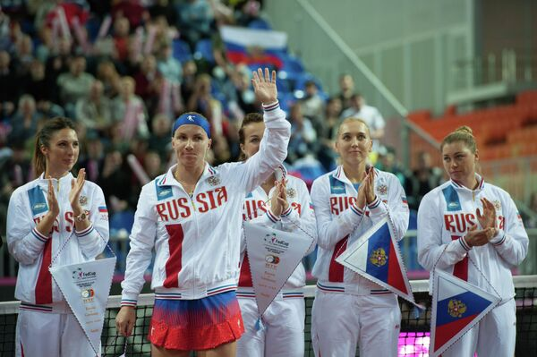 Сборная России по теннису перед началом полуфинального матча Кубка Федерации