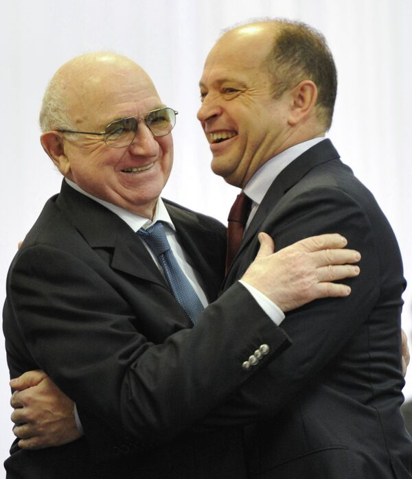 Вице-президент РФС Никита Симонян (слева) и президент РФПЛ Сергей Прядкин