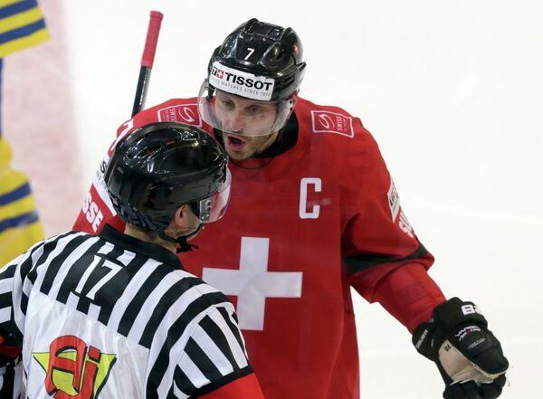 Капитан сборной Швейцарии по хоккею Марк Штрайт