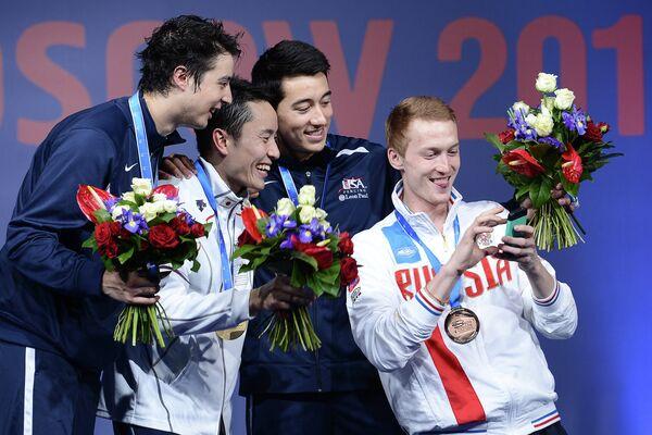 Джерек Мейнхардт (США) – серебряная медаль, Юки Ота (Япония) – золотая медаль, Александр Массиалас (США) и Артур Ахматхузин (Россия) - бронзовые медали (слева направо)