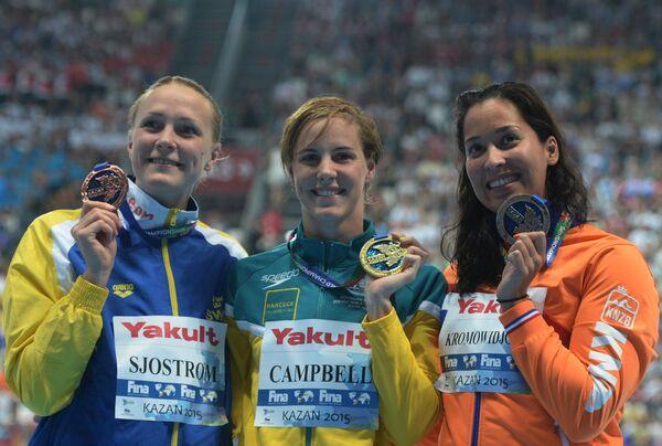 Сара Шёстрем (Швеция), Бронте Кэмпбелл (Австралия), Раноми Кромовидьойо (Нидерланды) (слева направо)