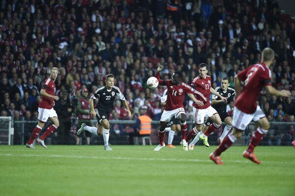 Игровой момент матча между сборными Дании и Албании