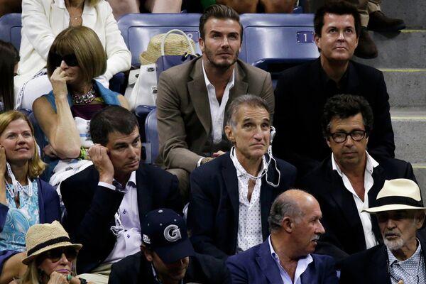 Дэвид Бекхэм во время финального матча US Open-2015 между Новаком Джоковичем и Роджером Федерером