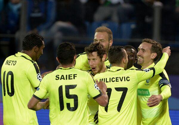 Футболисты Гента Ренату Нету, Хассан Саиф Кент, Томас Маттон, Даниел Миличевич (слева направо)