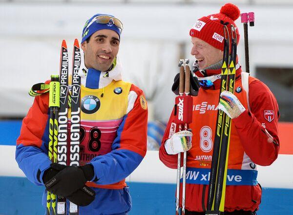 Слева направо: Мартен Фуркад (Франция) и Йоханнес Бё (Норвегия)