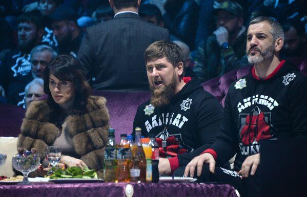 Тина Канделаки, Рамзан Кадыров и Бувайсар Сайтиев (слева направо)