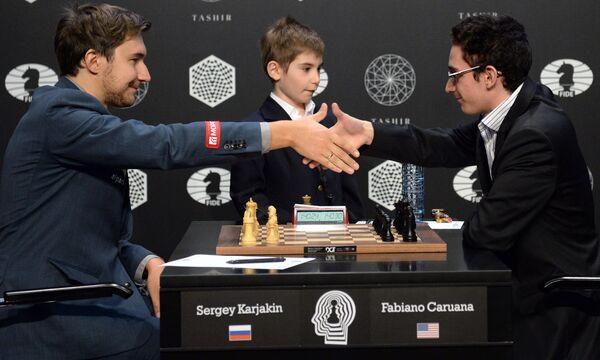 Сергей Карякин (Россия) и Фабиано Каруана (США) (слева направо)
