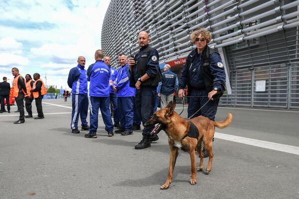 Сотрудники полиции со служебной собакой у стадиона перед началом матча