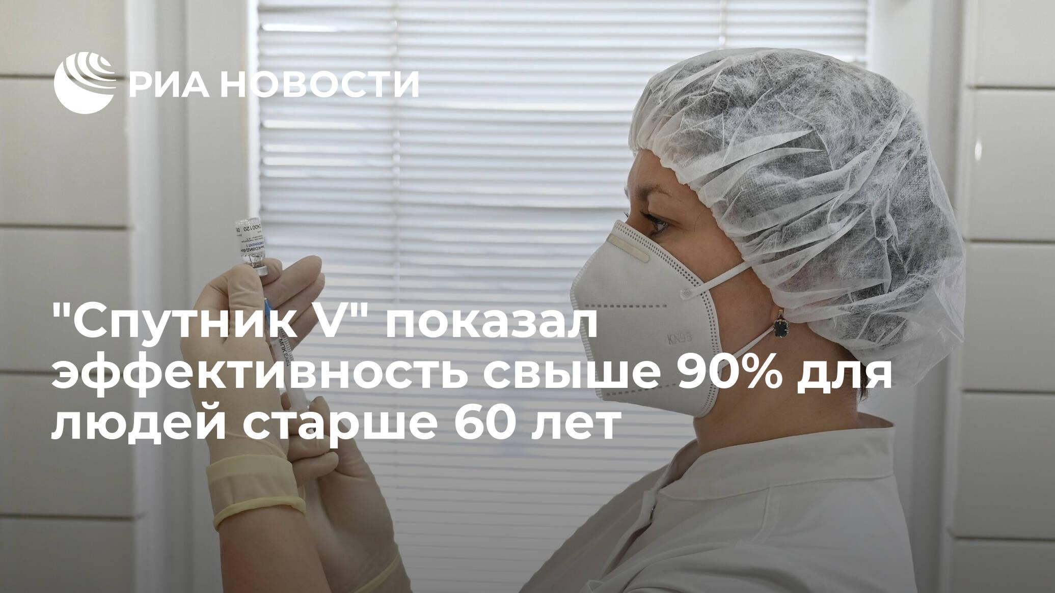 «Спутник V» показал эффективность более 90% для людей старше 60 лет